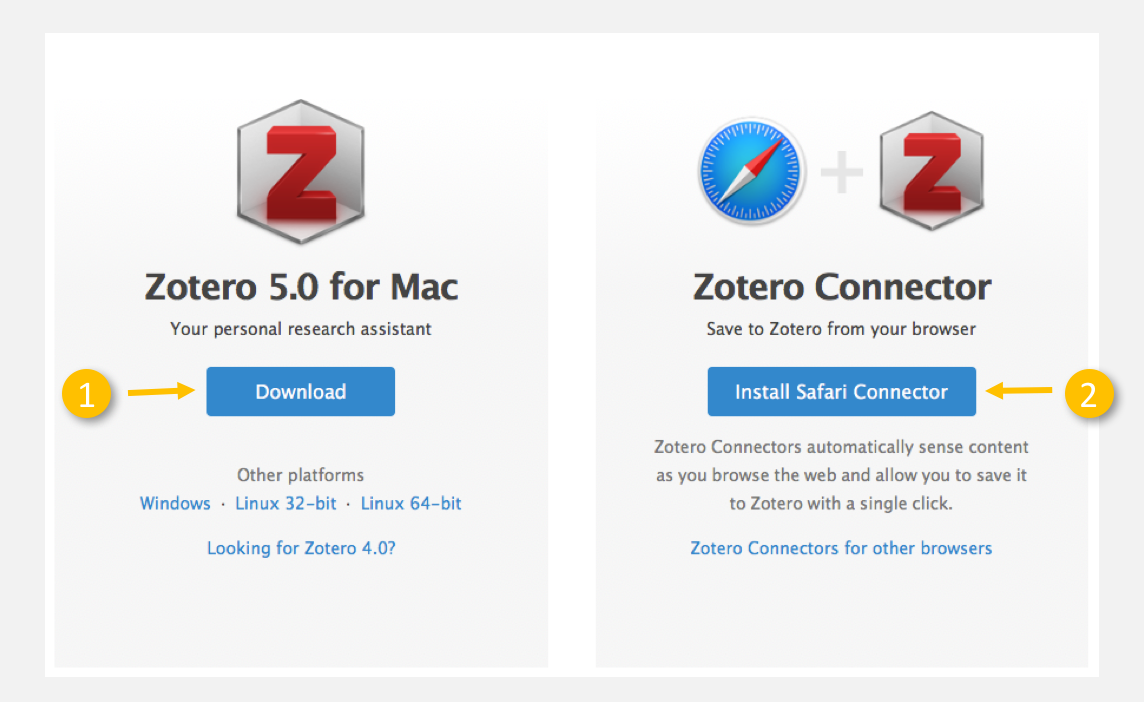Download screen on Zotero website. Includes download icons for both the desktop application and the browser extension are shown.