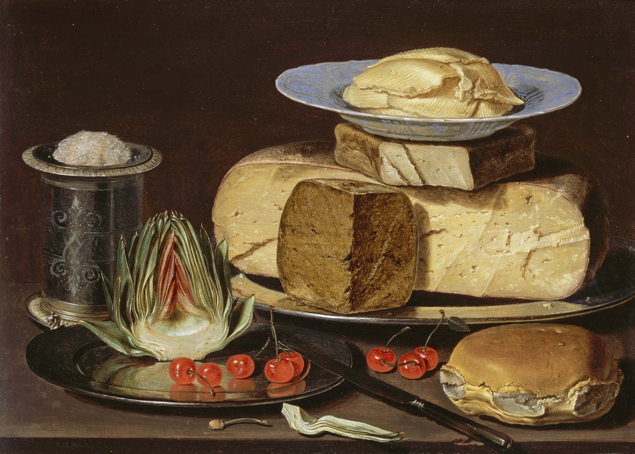 Still Life With Cheeses, Artechoke and Cherries, Clara Peeters, oil on wood, circa 1625