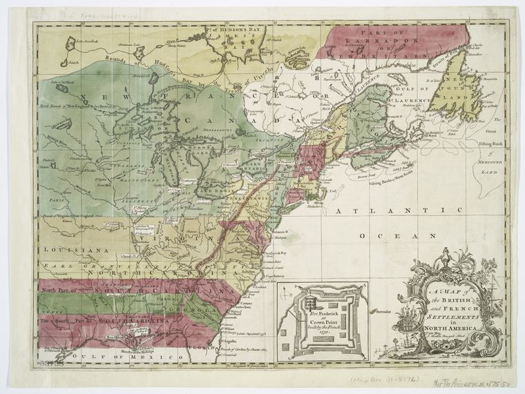 A map of the British & French settlements in North America, 1755, J.Hinton, publisher. Source: nypldigitalcollections